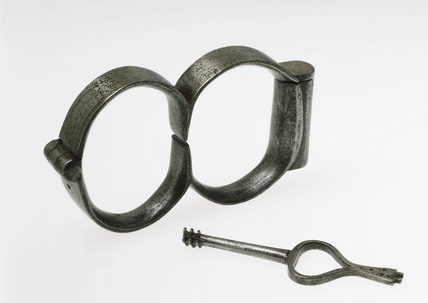 Iron handcuffs, 1601-1830.