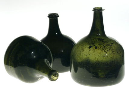 Mallet shaped wine bottles, c 1740.