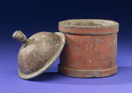 Cylindrical lead tobacco jar, English, 1790-1830.
