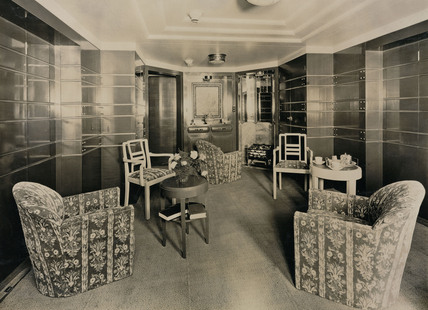 View of First Class cabin on the 'Empress of Britain, c 1934.