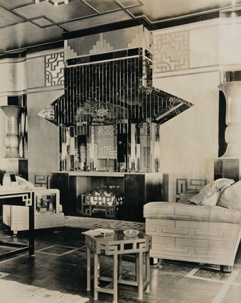 Fireplace in a seated area of the 'Empress of Britain', c 1934.