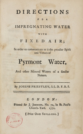 Title page of 'Directions for Impregnating water with fixed air', 1772.