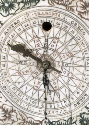 Ivory diptych sundial, 1700.