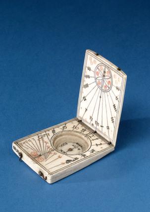 Ivory diptych sundial, 1651-1700.