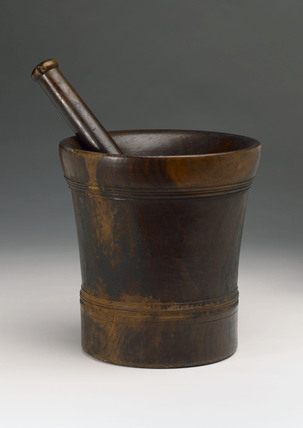 Turned wood pestle and mortar, European, c 1800.