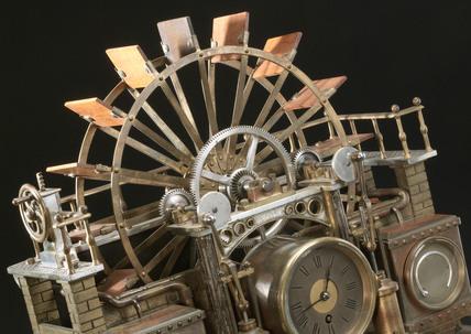 Clock symbolising motive power, French, 19th century.