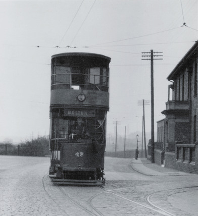 Bolton double deck electric tram, c 1920s.