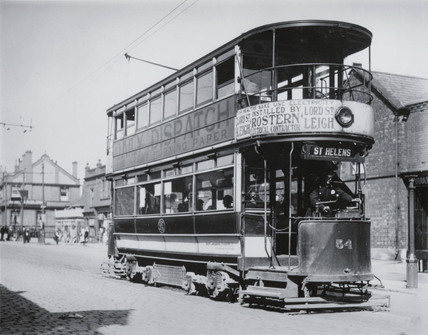 St Helens double deck electric tram, South Lancashire, 1906.