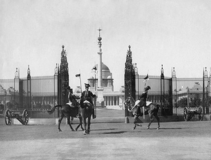 Changing of the guard at the Viceroy's House, Delhi, India, 1 March 1932.