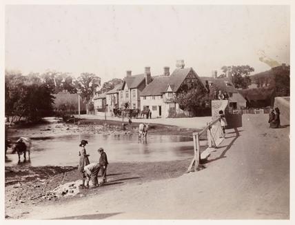 Village scene, c 1890.