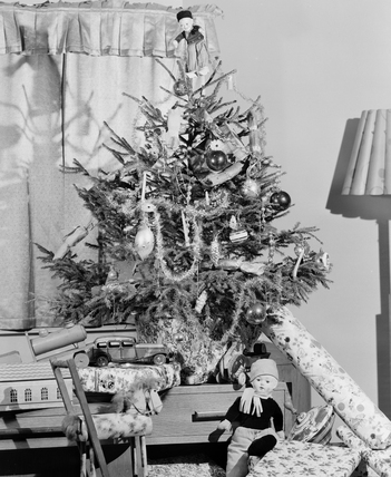 Christmas tree and presents, c 1949.