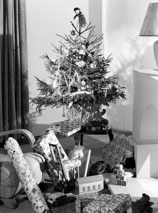 Christmas tree and presents, c 1949.