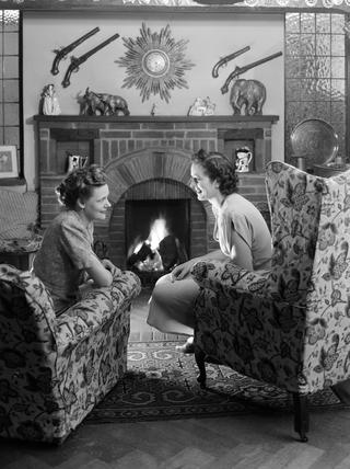 Two women talking, 1948.