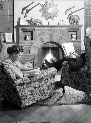 Man and woman reading, 1951.