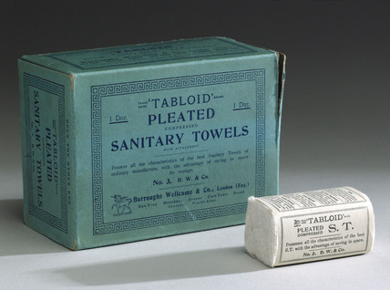 Twelve 'Tabloid' pleated compressed sanitary towels, 1910-1940.