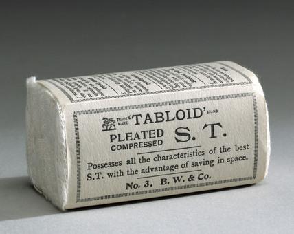 Twelve 'Tabloid' pleated compressed sanitary towels, 1910-1940.
