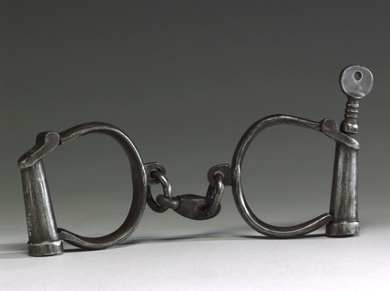 Pair of steel handcuffs, 1918.