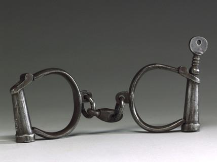 Pair of steel handcuffs, 1918.