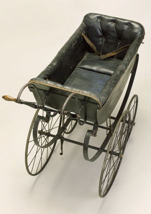 Perambulator with black upholstery, 19th century.