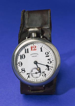 'Ingersoll' wrist watch with leather strap, 1915.