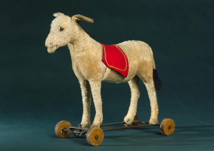Steiff donkey on wheels, c 1913.