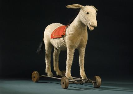 Steiff donkey on wheels, c 1913.