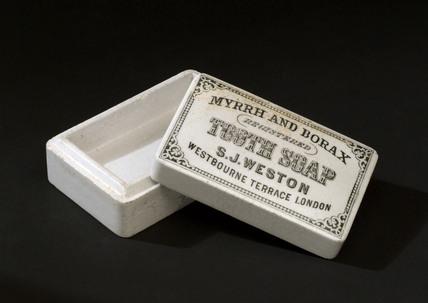 Rectangular ceramic toothpaste pot, 1850-1910.