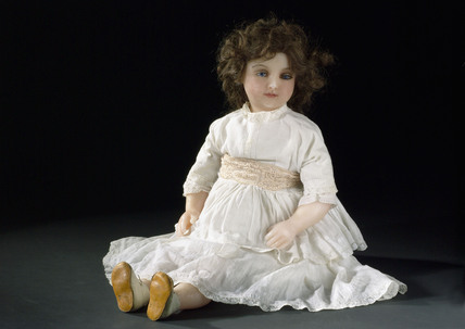 Poured wax doll, French, c 1900.