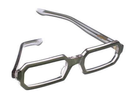 Green plastic half frame reading spectacles, French, 1960s.