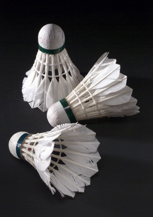 Three traditionally made shuttlecocks, 1950-1960.