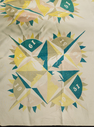 Silk scarf with 'Festival of Britain' design, 1951.