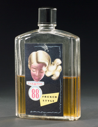 Bottle of 'Shampoo 88 French-style' shampoo, 1950s.