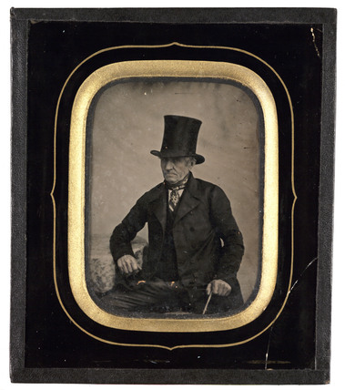 Old man wearing a top hat, c 1860.