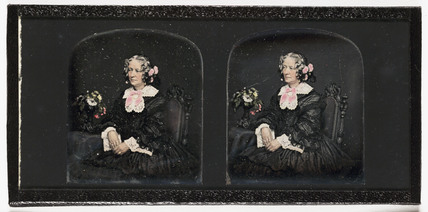 Stereo-daguerreotype of a woman, c 1855.