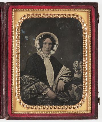 Woman in a bonnet, c 1850.