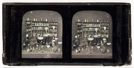 Stereo-daguerreotype of chemicals and equipment, c 1852.