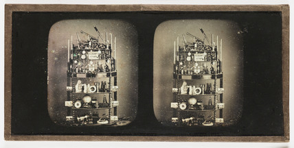 Stereo-daguerreotype of optical instruments, c 1855.