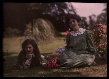 Two girls in a garden, 1908.