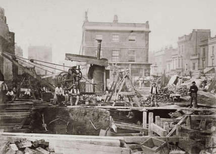 Construction of the Metropolitan District Railway, Praed Street, London, 1866.