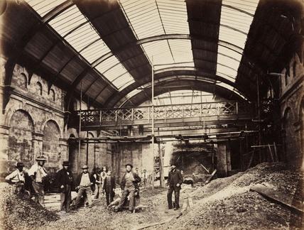 Constructing Praed Street Station, London, c 1867.