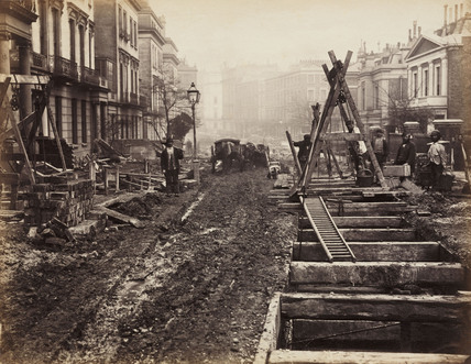 Construction of the Metropolitan District Railway, Craven Hill, London, c 1867.
