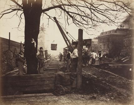 Construction of the Metropolitan District Railway, Craven Hill, London, c 1867.
