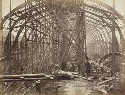 High Street Kensington Station under construction, London, c 1867.