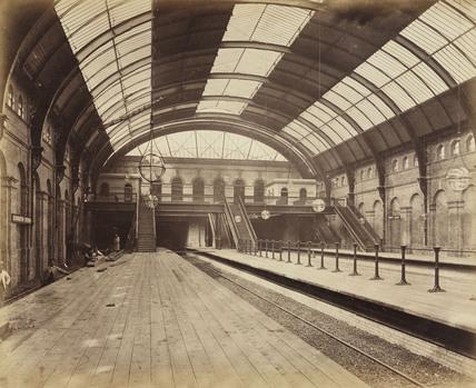 Interior of High Street Kensington Station, London, 1868.