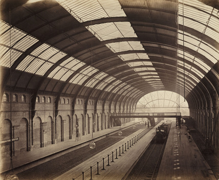 Interior of High Street Kensington Station, London, 1868.