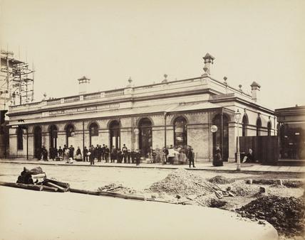 Street elevation of High Street Kensington Station, 1868.
