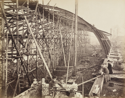 Construction of Gloucester Road Station, London, c 1867.