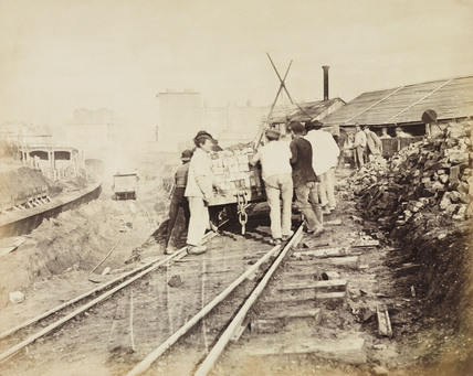 Construction of the Metropolitan District Railway, Earls Court, London, c 1867.