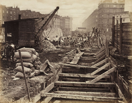 Construction of the Metropolitan District Railway, Victoria, London, c 1869.