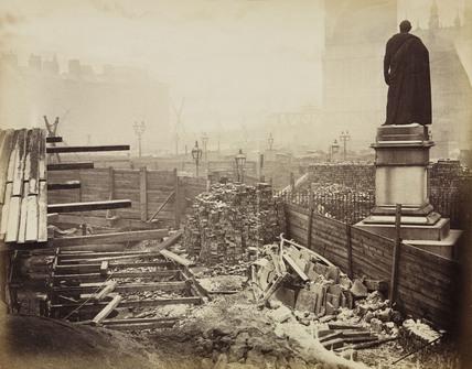 Construction of the Metropolitan District Railway, Westminster, London, c 1867.
